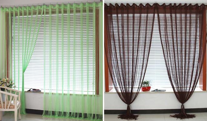 Как красиво повесить шторы-нити на карниз, арку или дверной проем